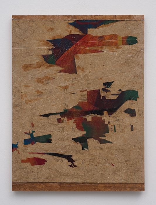 Erik Lindman, Shirt , 2012,found paperboard surface and emulsion on panel, 14 x 10 in