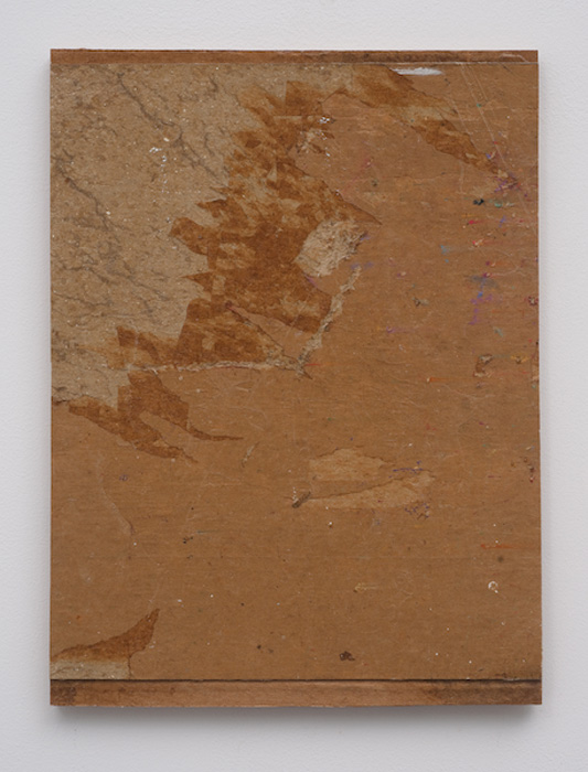 Erik Lindman, European , 2012,found paperboard surface and emulsion on panel, 14 x 10 in