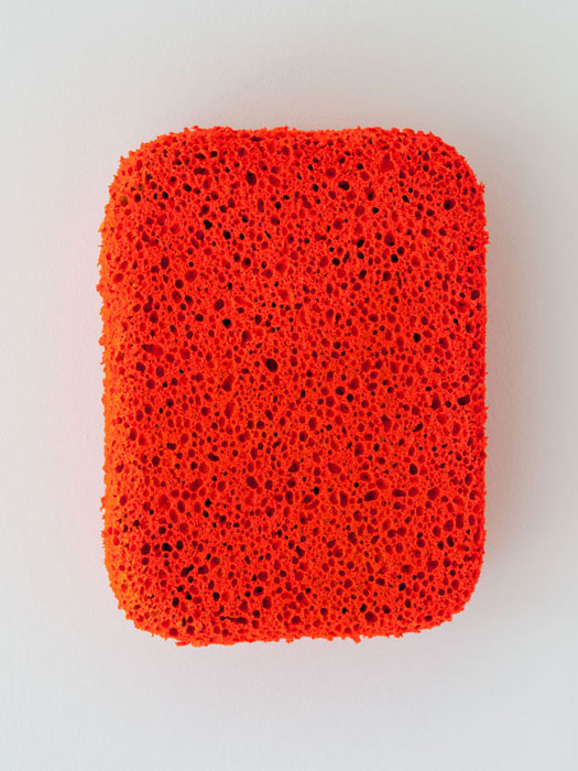David Malek, Orange Sponge , 2012,Day-Glo latex alkyd on sponge, dimensions variable