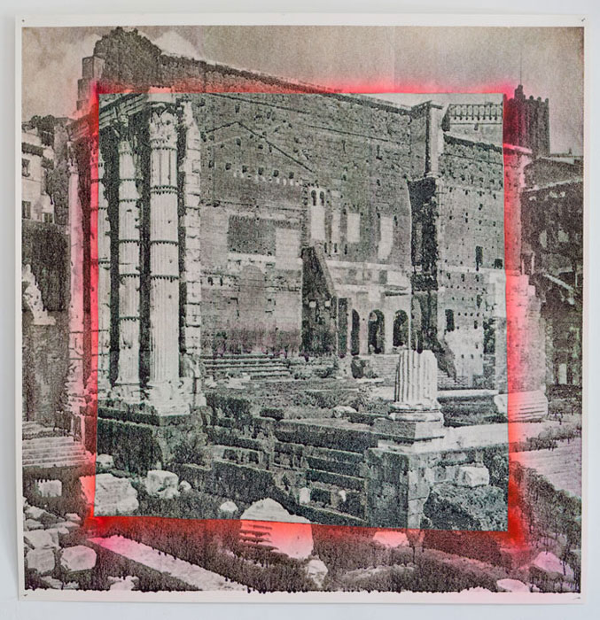 Justin Matherly, Discovering the Faculty of Enjoying throughout Eternity Continual Supreme Happiness , 2012,inkjet monoprint, spray paint,37 x 35.75 in