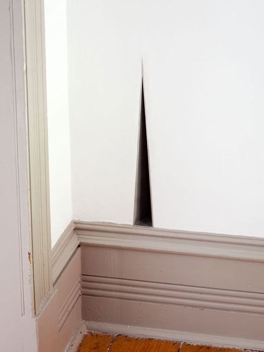 Davina Semo, AFTER EVERYONE LEFT, SHE FOUND HERSELF ALONE IN THE ROOM , 2012,stainless steel,13.75 x 1.5 x 2.5 in