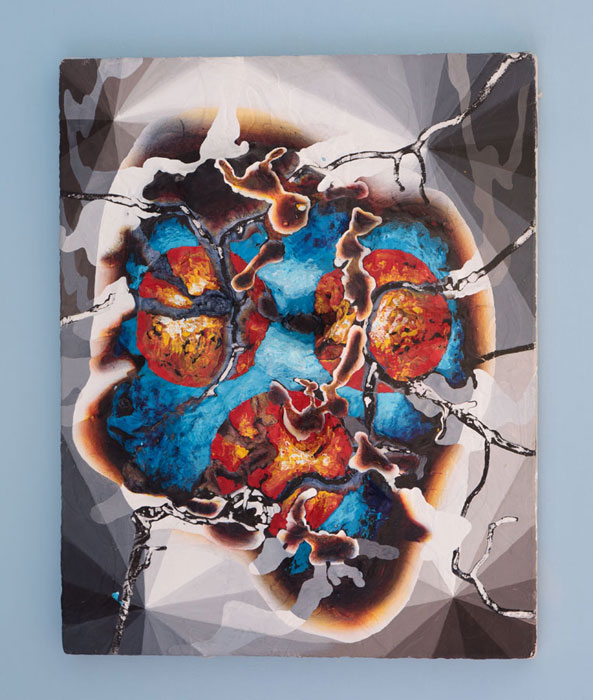 Bill Komoski, 3/1/12 , 2012,styrofoam, acrylic paint on canvas, 20 x 16 in