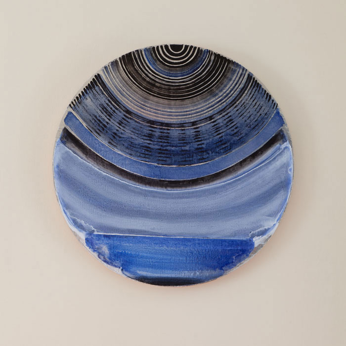 Lisa Beck, Dome , 2011,enamel paint, fabric-backed mylar on panel, 20 x 20 in