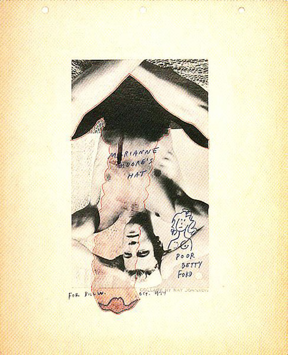 Ray Johnson, Untitled (Marianne Moore's Hat) , 1974,collage,13.5 x 11.25 in