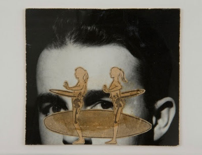 Ray Johnson, Untitled (Twin Hoops) , 1963, collage,4.5 X 4 in