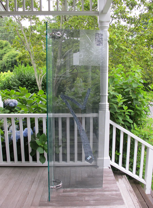 Ben Schumacher, Untitled , 2012,tempered glass, microfiche, scratch resistant film, perforated vinyl, custom printed neck tie and stainless steel hardware, 72 x 18 x 30 in