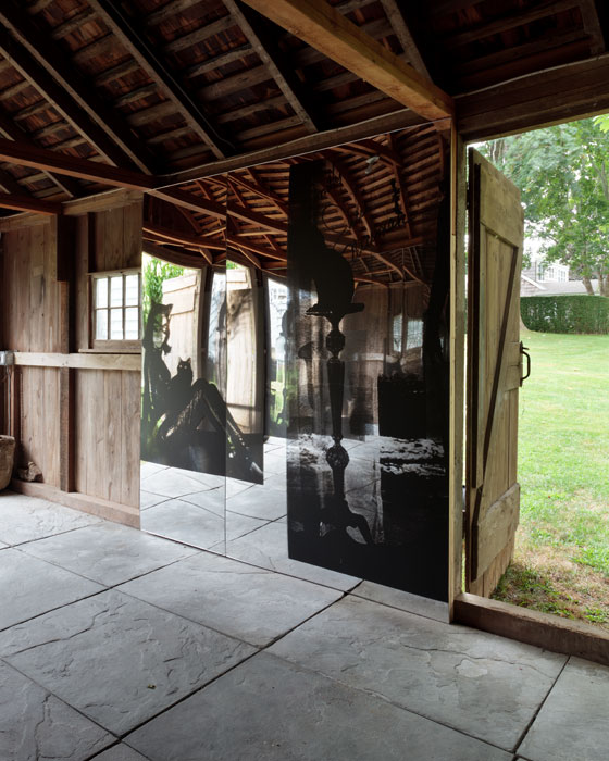 Servane Mary, Untitled (Black Maria) (detail) , 2012,silkscreen on mirrored plexiglas,site-specific installation with 3 groups of panels, dimensions variable