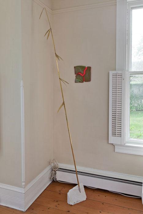 Elaine Cameron-Weir, Machine , 2012, marble, brass,75 x 5 x 5 in