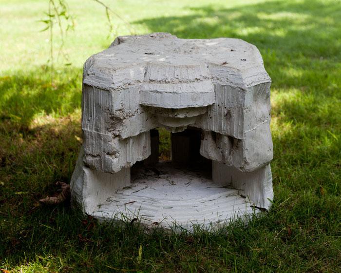 Andra Ursuta, A Worm's Dream Home , 2012, cast concrete,20.5 x 15.5 x 14 in (front)