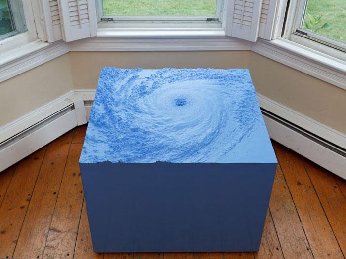 Nathaniel Robinson, Weather , 2012,modified gypsum cement, glass fiber, wood, polyurethane foam, paint,22 x 30 x 30 in
