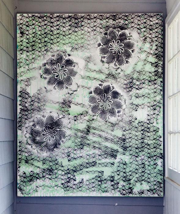 Tamara Gonzales, Dark Pond Andy , 2010, spray paint on canvas, 60 x 48 in
