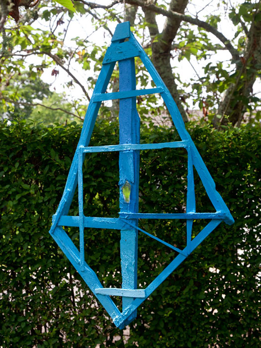 Chris Johanson, Found Wood Painted Blue Bird Sculpture #2 , 2012,found wood and acrylic,33 x 23 in