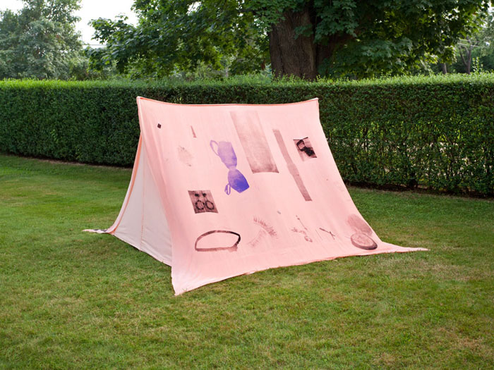 Servane Mary, Untitled (Tent) , 2012,silkscreen on fabric, wood, 52 x 74 x 75 in