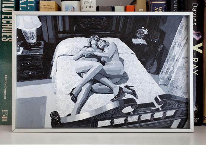 Aura Rosenberg, The Golden Age (2 Women on Bed b/w) , 2012,acrylic,8 x 11 in