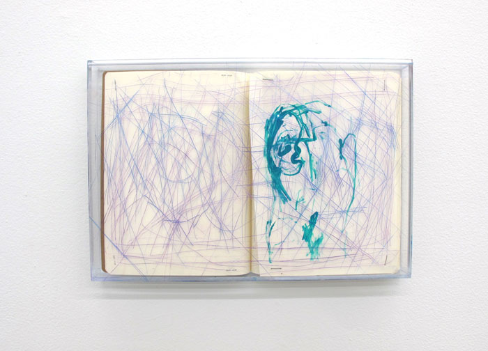 Chris Churchill,  Media Divorce , 2012, sketch book in acrylic box 10.75 x 15.75 in