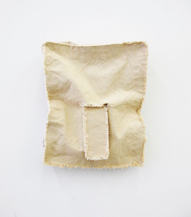 Jess Fuller,  Portrait of a Young man , 2012, fabric dye and canvas, 15 x 12 x 3.25 in