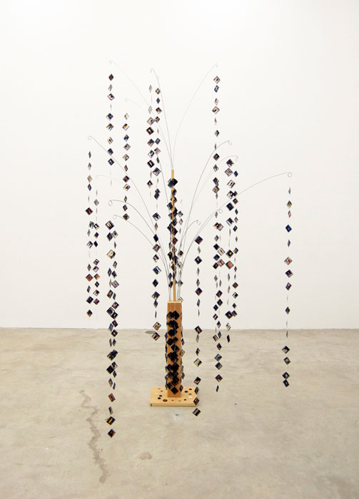 B. Wurtz,  Collection #5 , 1999, wood, metal, 35 mm transparencies, buttons, thread, 94 x 50 x 50 in