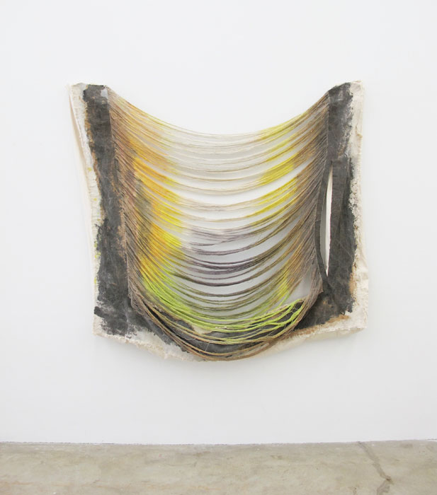 Jess Fuller,  Mañanifesto , 2012, acrylic, fabric dye and canvas, 65 x 57 x 9 in