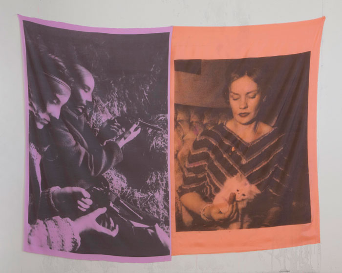Servane Mary,  Untitled (IRA Lavender, Frances Farmer) , 2011, pigment printed silk, 69.5 x 88 in