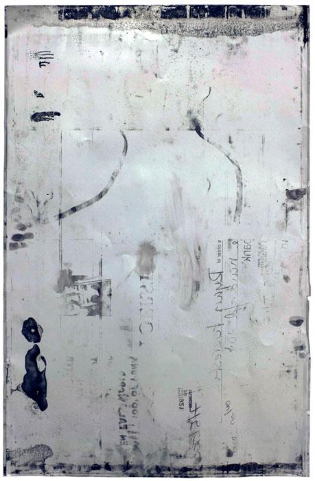 Ryan Foerster, reversed aluminum printing plate , 2008,aluminum and ink,35 x 23 in