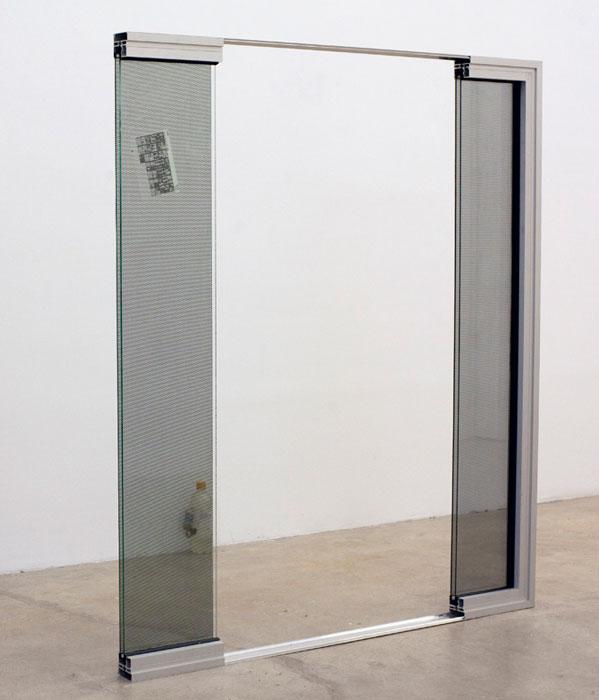Ben Schumacher, Vokno in Vogue Vol. 176 OCT,  2012,aluminum, glass, perforated adhesive vinyl, microfilm,50 x 58 x 3 in