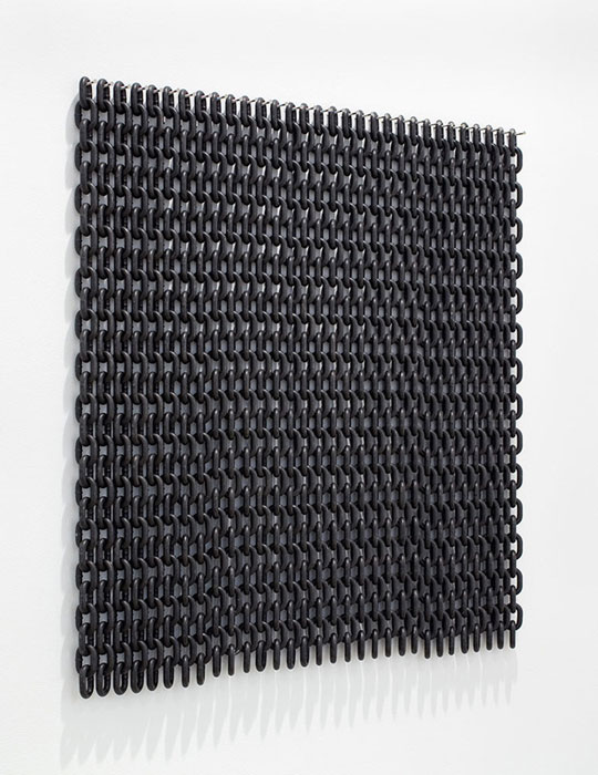 Davina Semo,  YOU ASSEMBLE ABOUT YOURSELF THE DARKNESSES THAT PRESS UPON THE MAGGOTS,  2011, black painted steel chain, 36 x 36 in