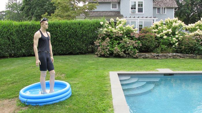 John Miller, Mannequin , 2010,Mannequin, swimsuit, plastic pool, 75 x 17 x 9 in