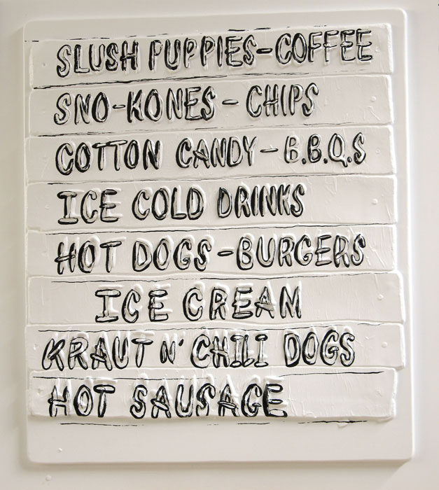 Amy O'Neill, Snack Bar Menu , 2007, Silkscreen on thermo-formed plastic, 35 x 31 x 2 in