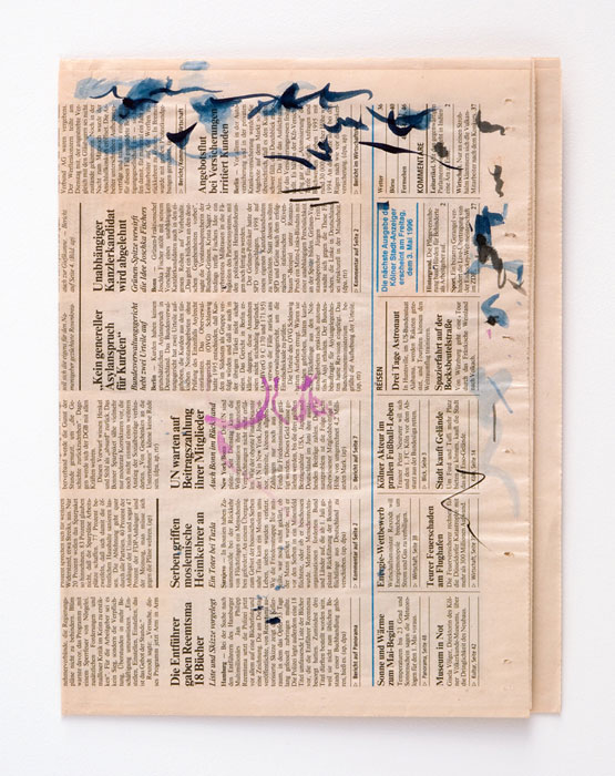 Michael Krebber, Untitled , 1996, Watercolor and ink on newspaper, 12 1⁄2 x 9 3⁄4 in