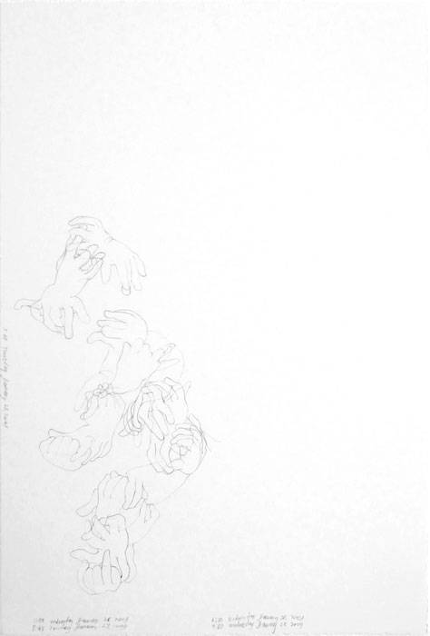 Danica Phelps, Orion's Hands Moving (January 27-29, 2009) , 2009, Graphite on paper,22.5 x 15 in
