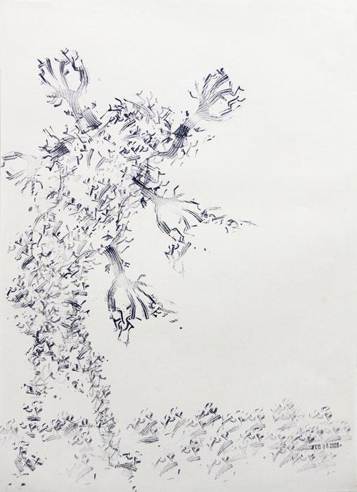 Julien Gardair,  Mr.Tree , 2009, Stamp prints on paper, 22 x 16 in