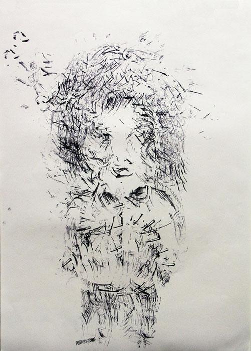 Julien Gardair, Ballade , 2009 Stamp prints on paper 22 x 16 in