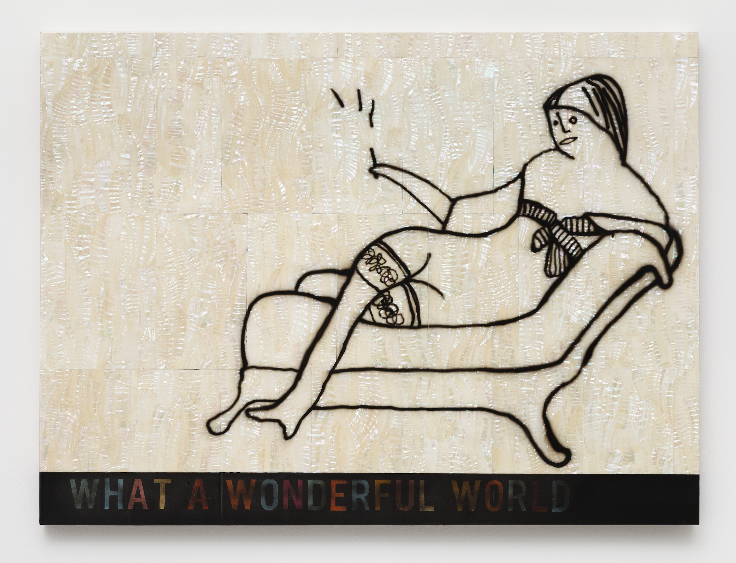Scott Campbell,  What a Wonderful World , 2015, enamel on mother of pearl, 30 x 40.25 x 1.75 in