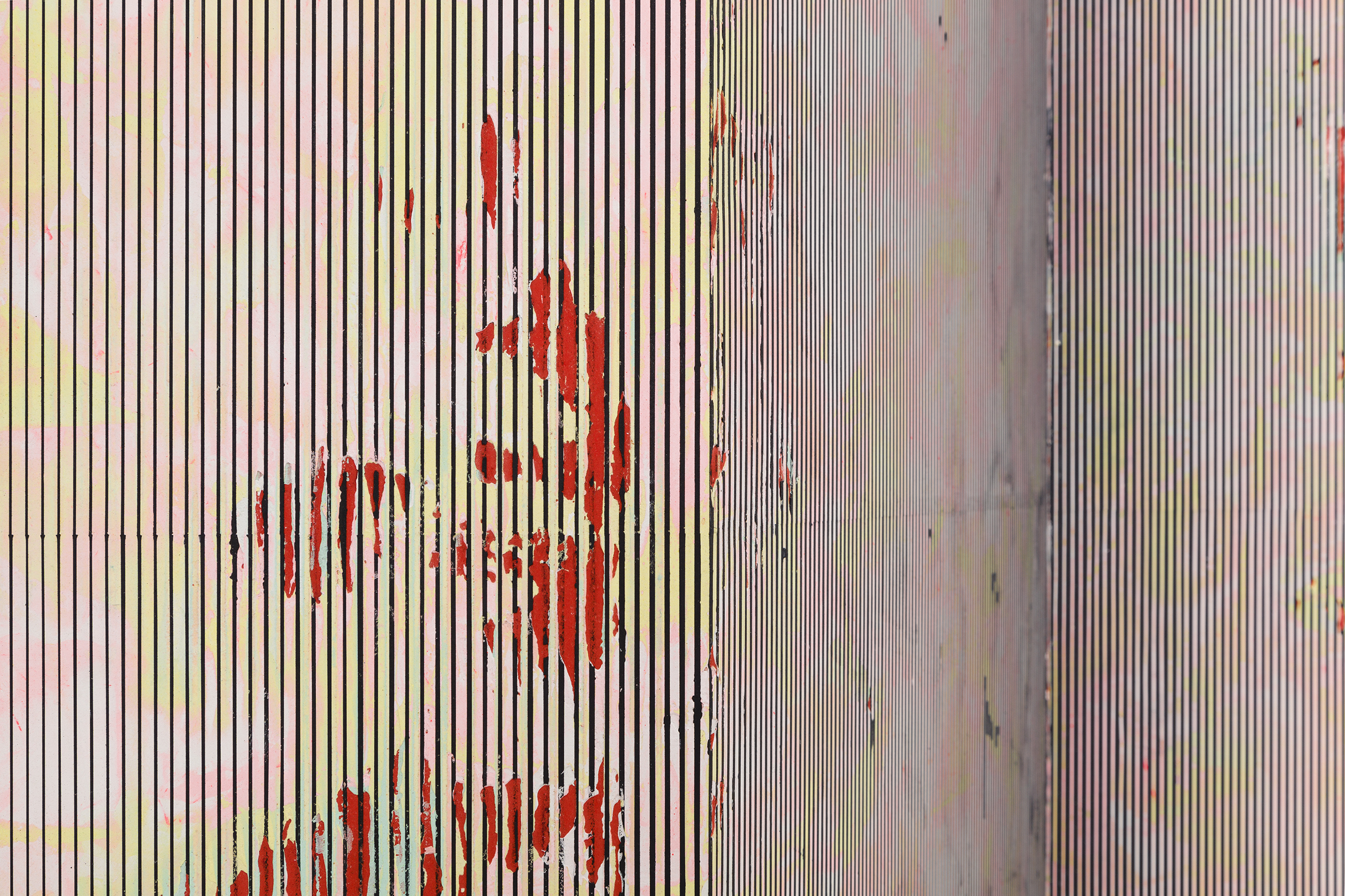 Nicolas Roggy, Untitled  (detail), 2014,primer, modeling paste, pigment on PVC,110.2 x 80.8 x 12.2 in