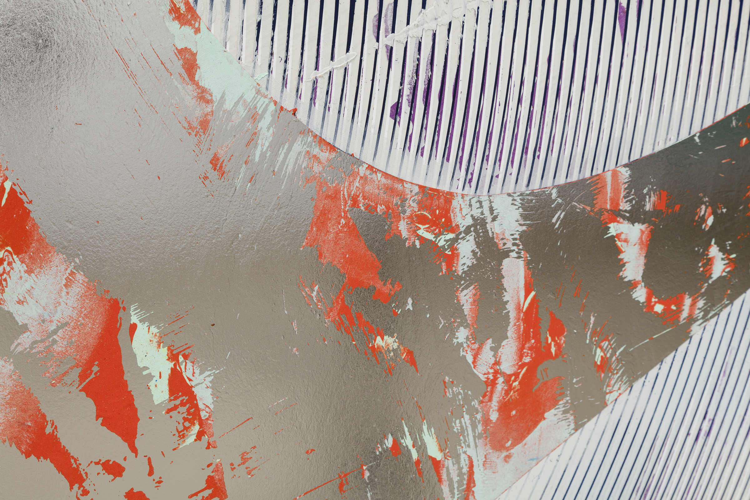 Nicolas Roggy, Untitled  (detail), 2014,primer, modeling paste, pigment,acrylic paint, silver leaf on PVC,92.9 x 82.7 x 1 in