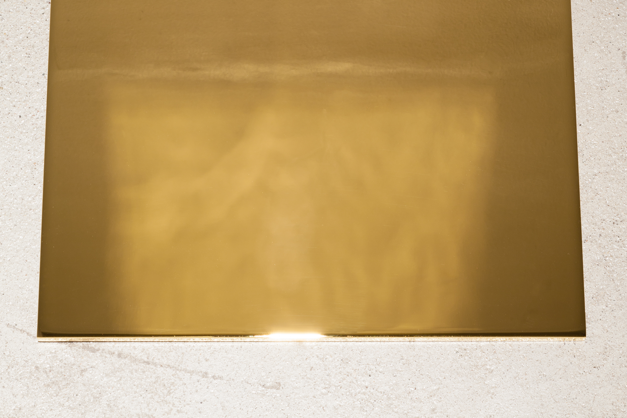 Lazaros,  A paved work of pure gold  (detail), 2012-2015, aerospace grade aluminum plated with 99.999% pure gold, 0.375 x 12 x 12 in