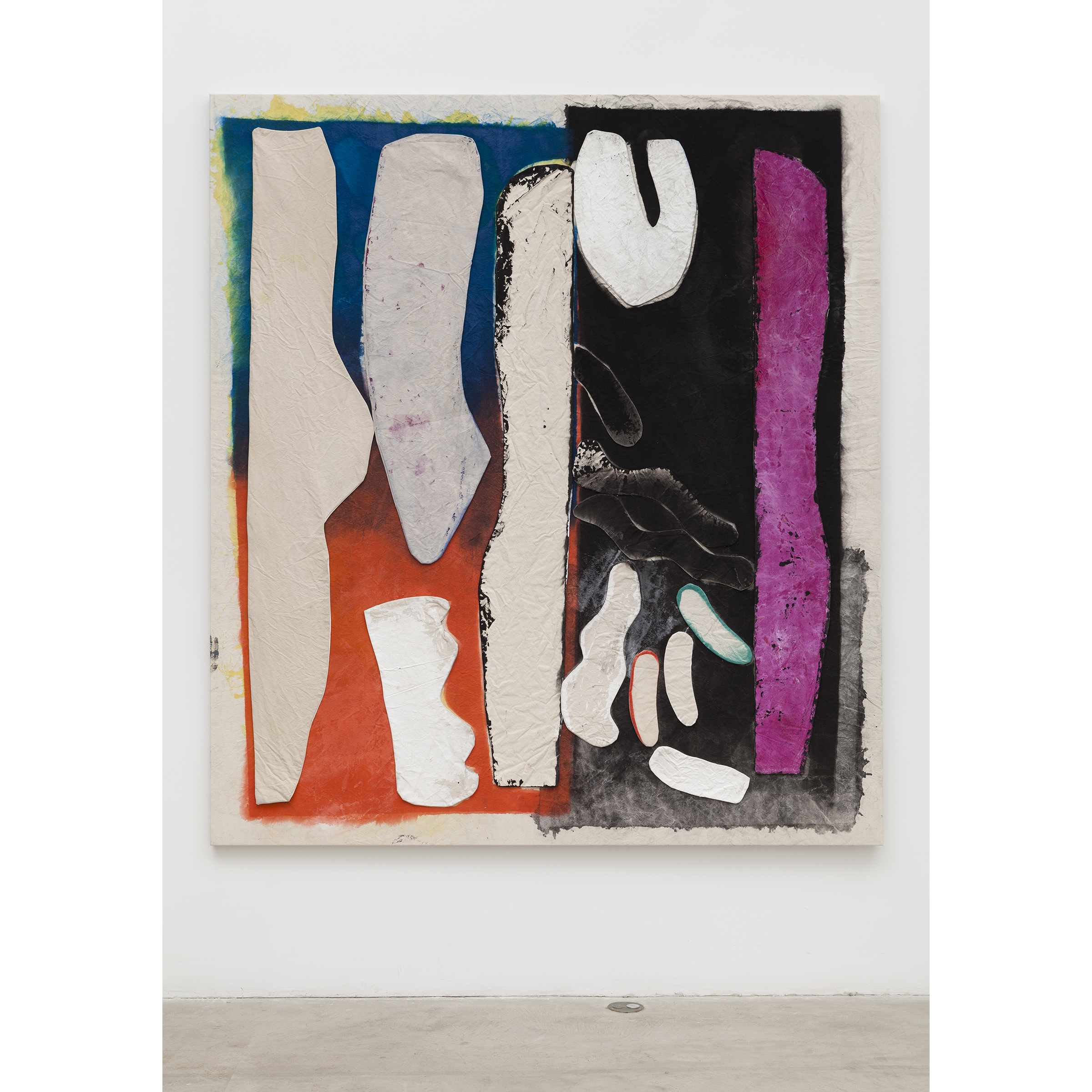 Jess Fuller, Hungry Heart , 2014,acrylic, fabric dye and gesso on canvas,85 x 76 in