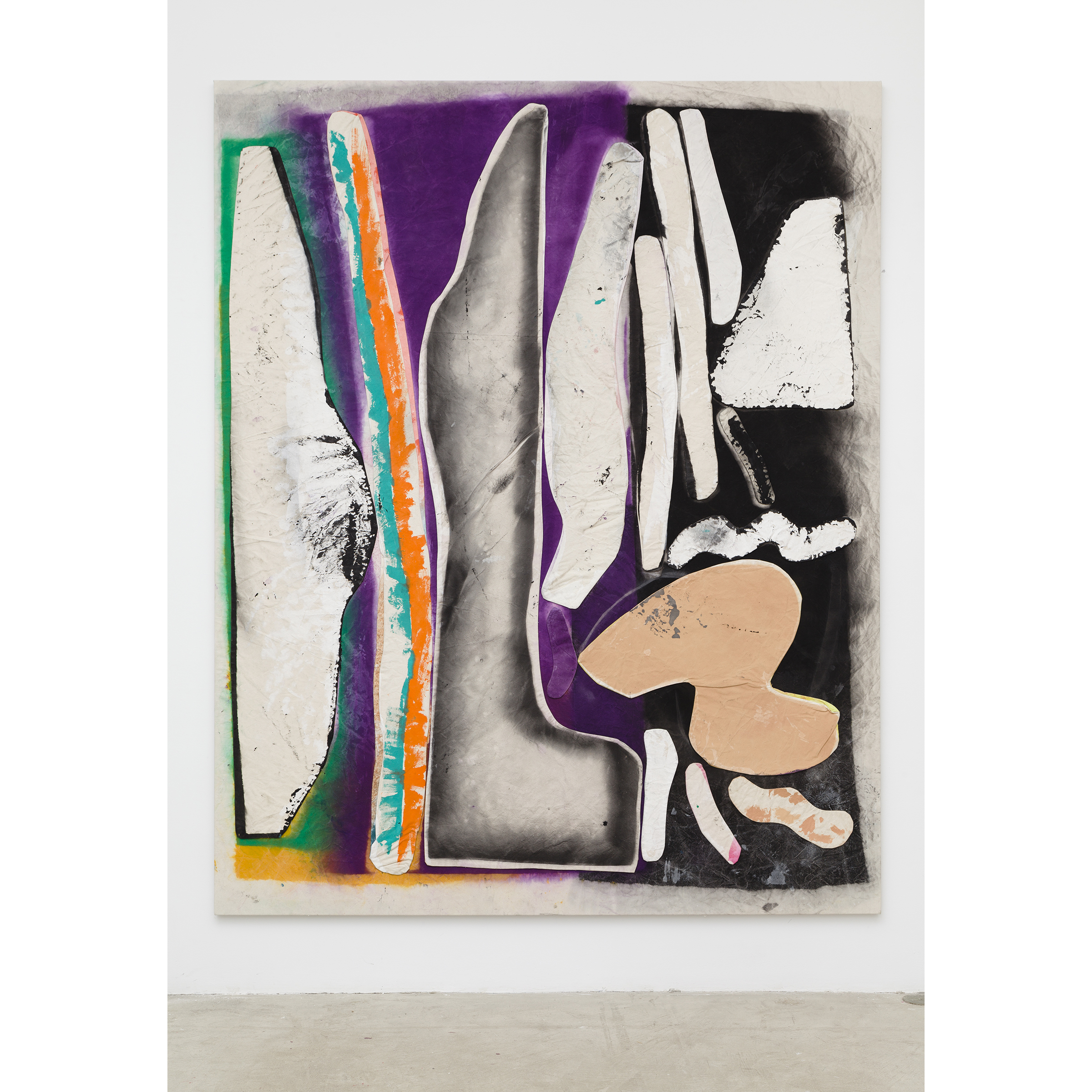 Jess Fuller, 'Groove' was a Verb and 'Dream' was an Action , 2014,acrylic, fabric dye and gesso on canvas,100 x 80 in