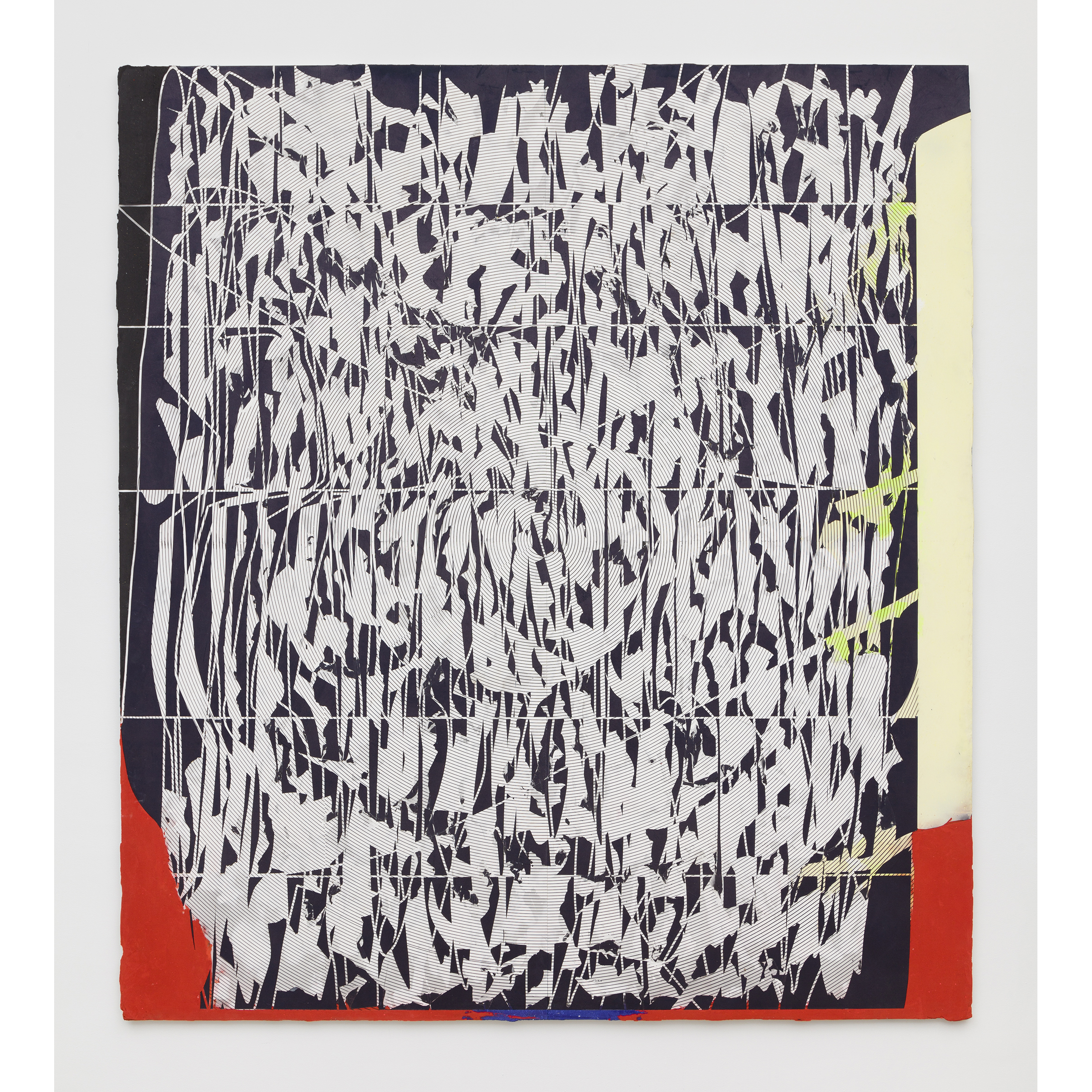 Nicolas Roggy,  Untitled , 2014,primer, modeling paste, pigment,acrylic paint on PVC,92.9 x 82.7 x 1 in