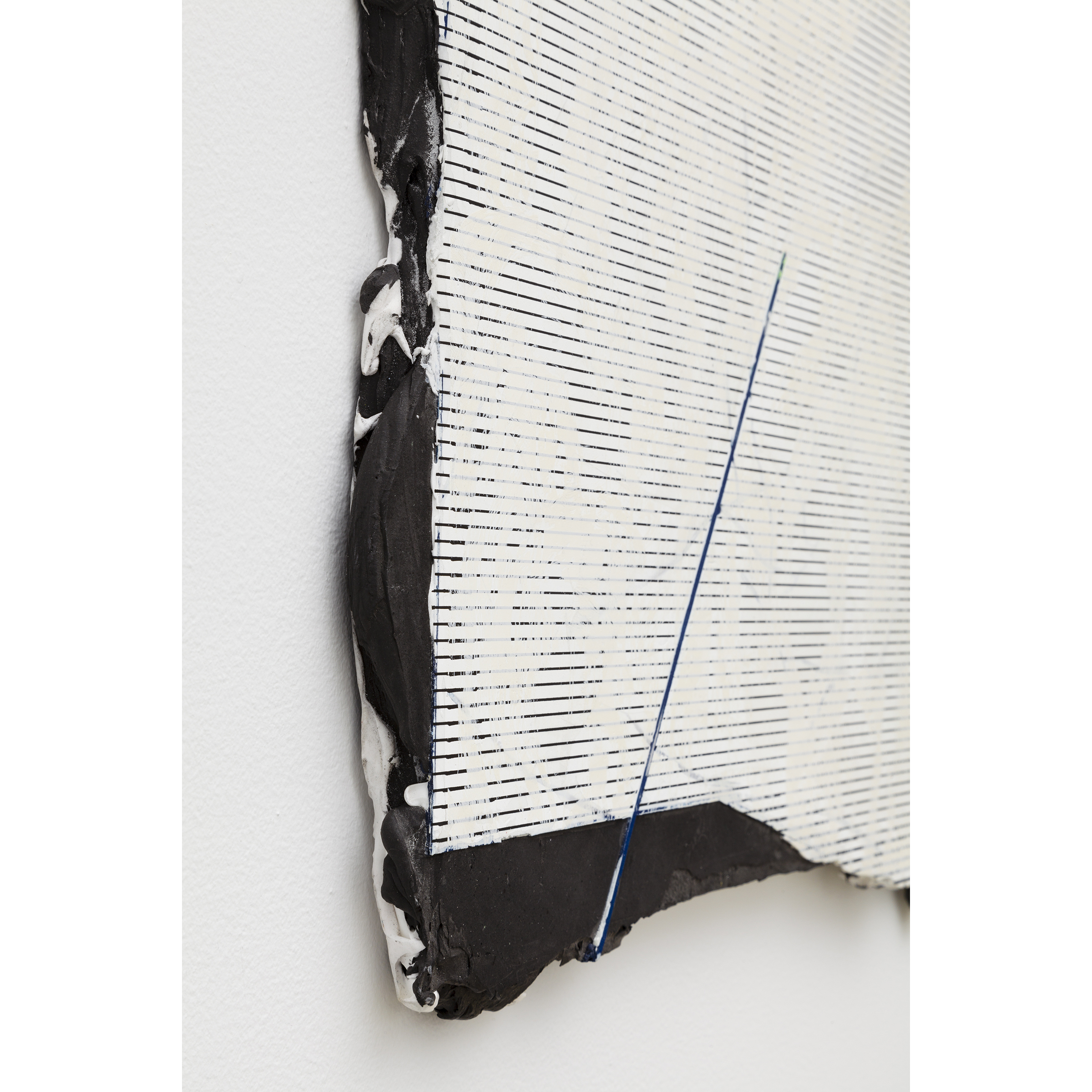 Nicolas Roggy, Untitled  (detail), 2014,primer, modeling paste, pigment, acrylic paint, silkscreen print on PVC,29.9 x 30.3 x 0.5 in
