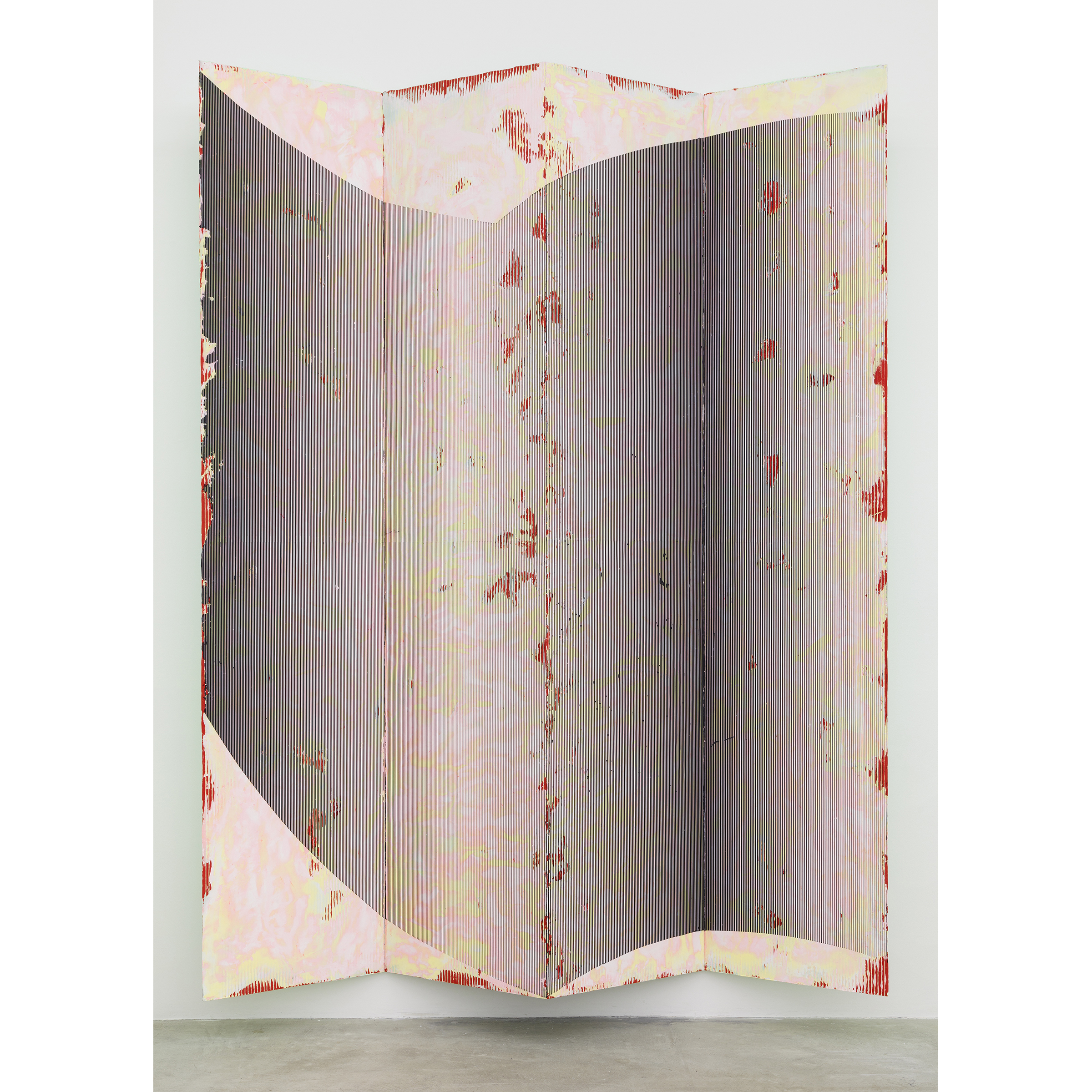 Nicolas Roggy, Untitled , 2014,primer, modeling paste, pigment on PVC,110.2 x 80.8 x 12.2 in