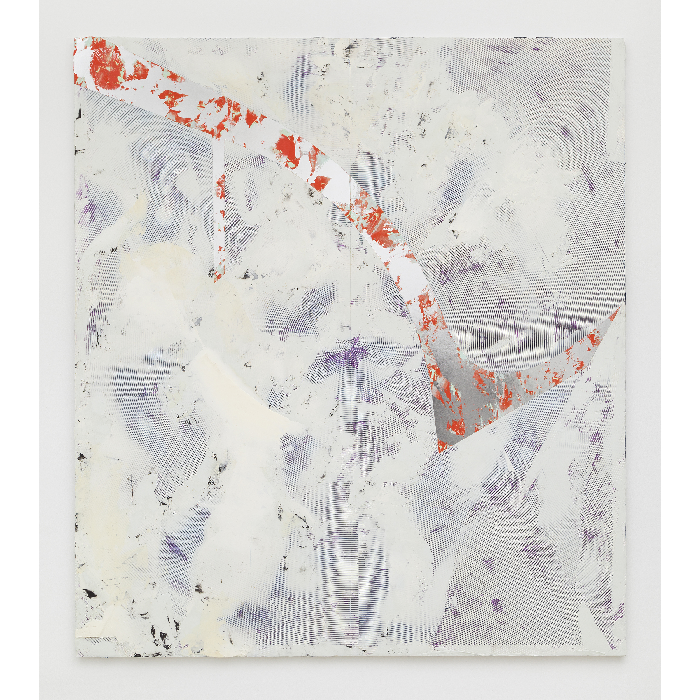 Nicolas Roggy, Untitled , 2014,primer, modeling paste, pigment,acrylic paint, silver leaf on PVC,92.9 x 82.7 x 1 in