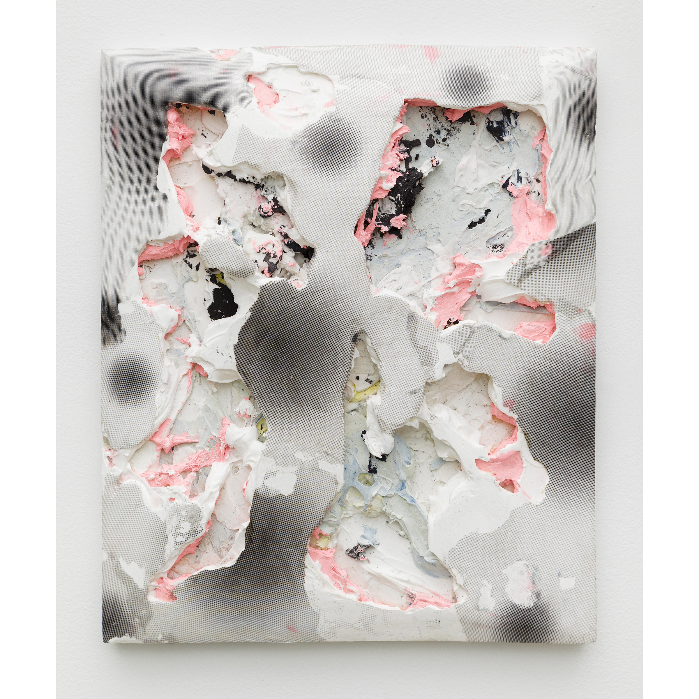 Nicolas Roggy, Untitled , 2014,primer, modeling paste, pigment,acrylic paint, print on PVC,13.7 x 17.7 x 2.3 in