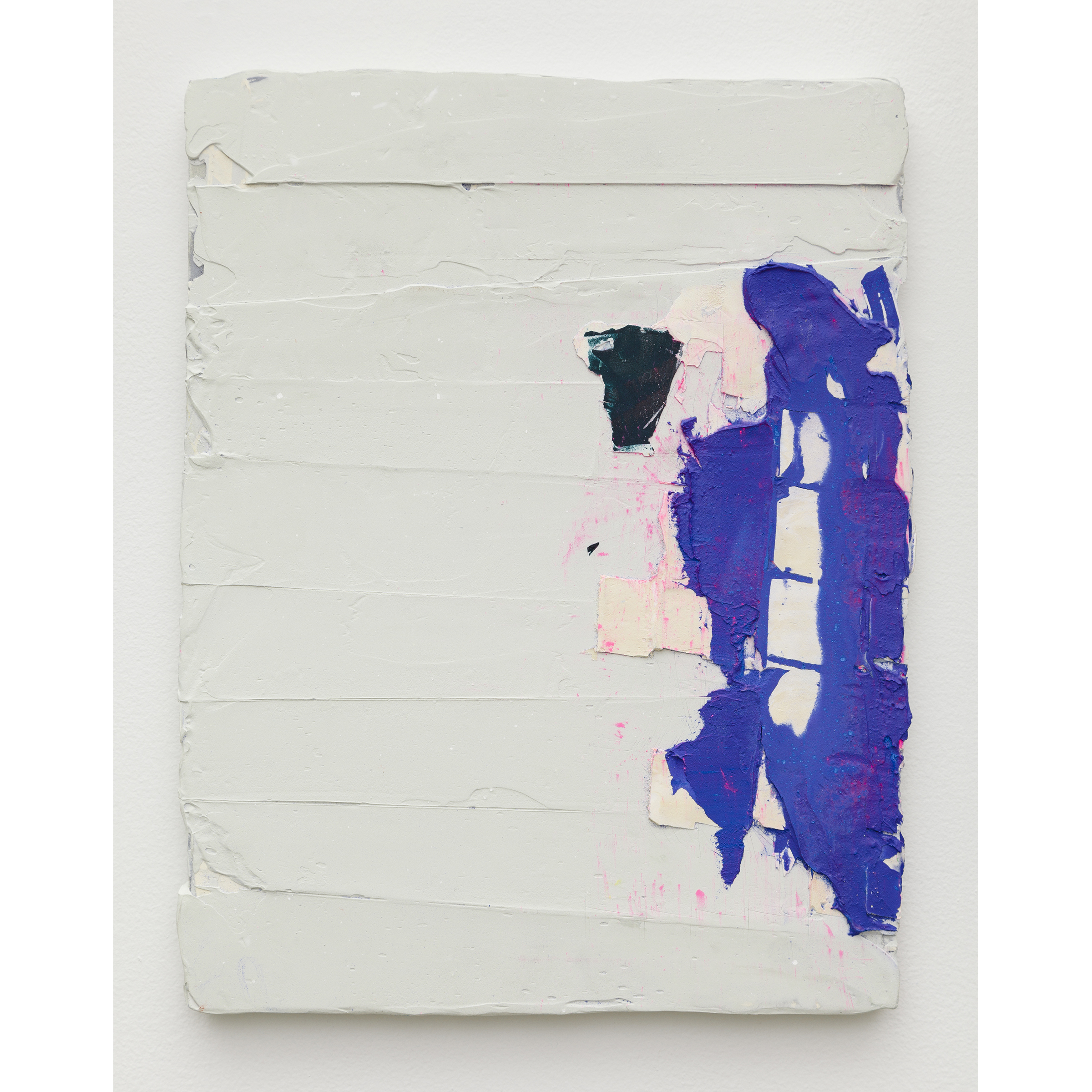 Nicolas Roggy,  Untitled , 2014, primer, modeling paste, pigment, acrylic paint on PVC, 11.8 x 15.3 x 0.7 in