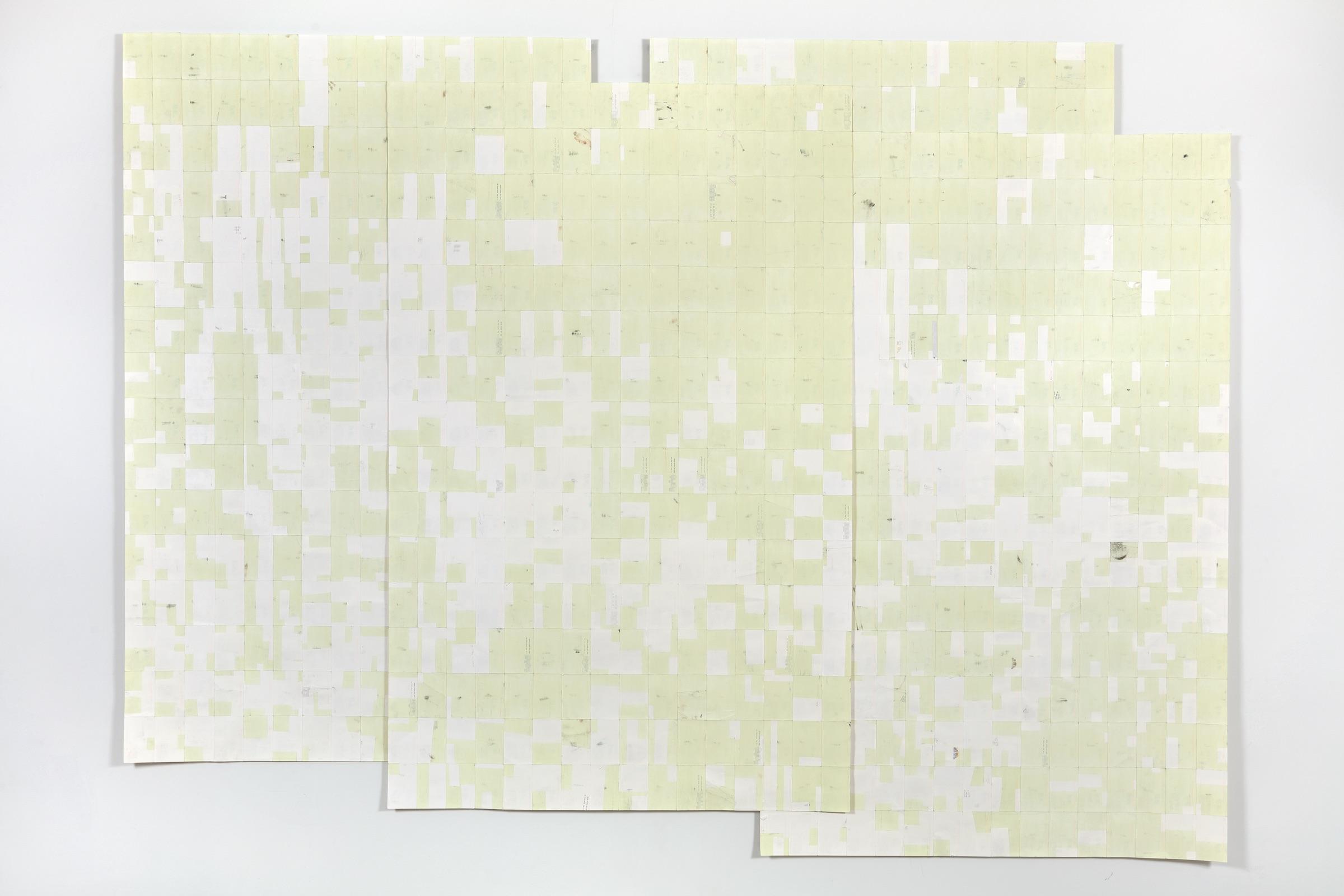 Agnes Lux, Hiver étéliés #3 ,2016,phosphorescent paint on postcards, 99.2 x 133.15 in (light view)