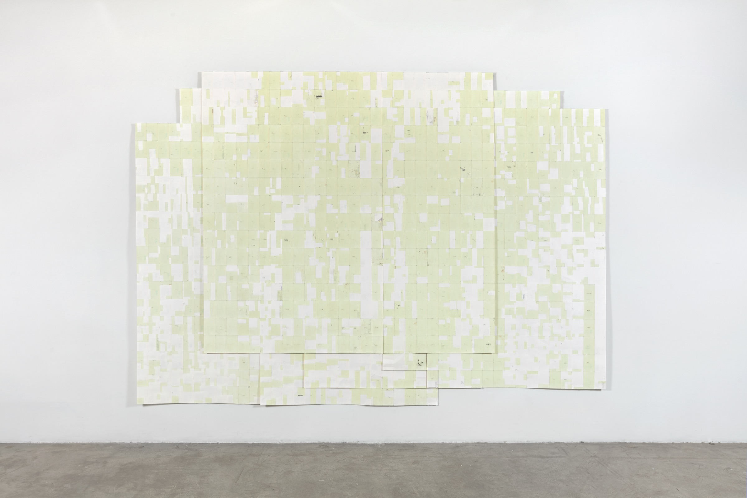 Agnes Lux, Hiver étéliés #4 ,2016,phosphorescent paint on postcards, 104.72 x 147.2 in (light view)