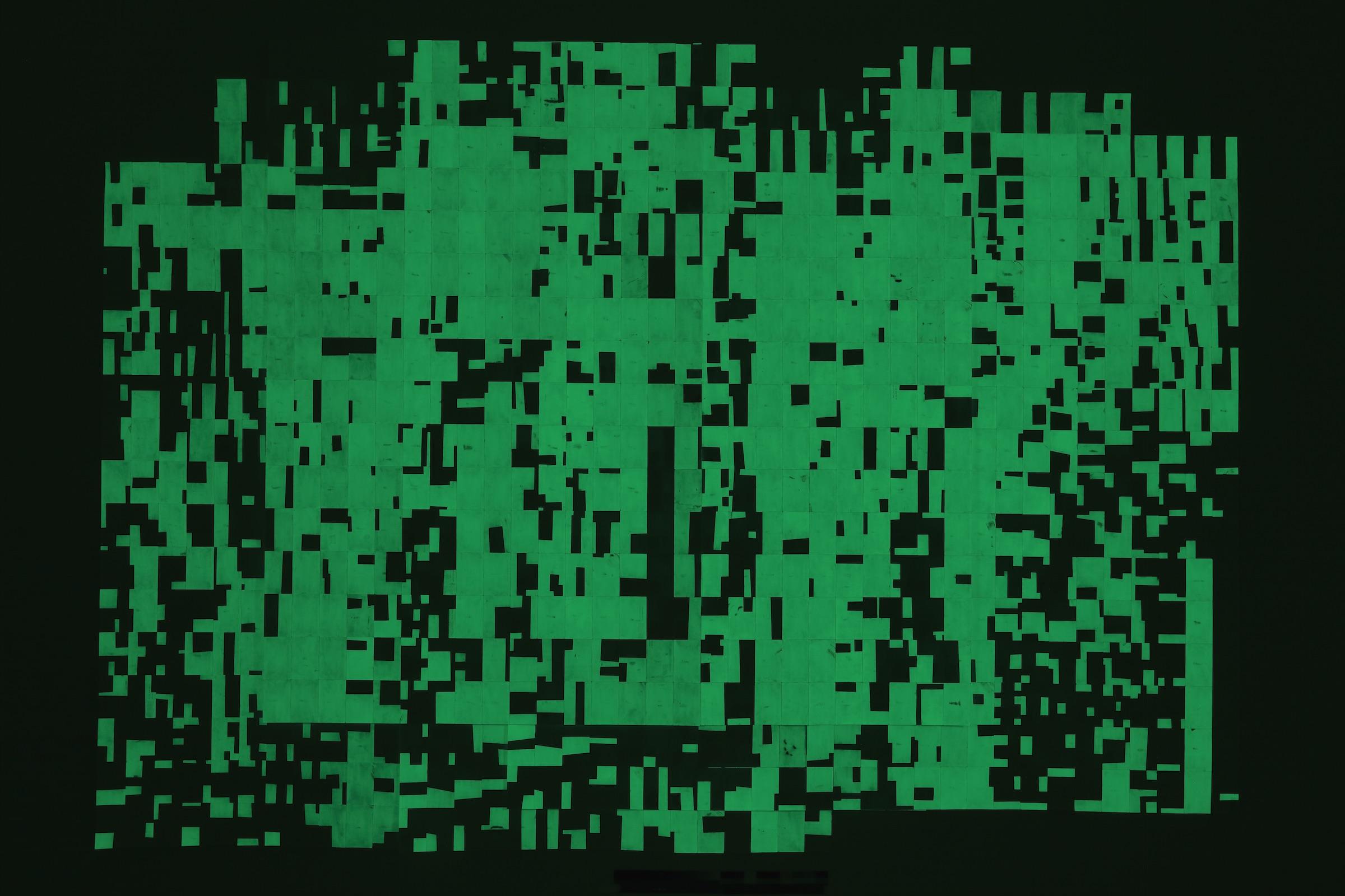 Agnes Lux, Hiver étéliés #4 ,2016,phosphorescent paint on postcards, 104.72 x 147.2 in (dark view)