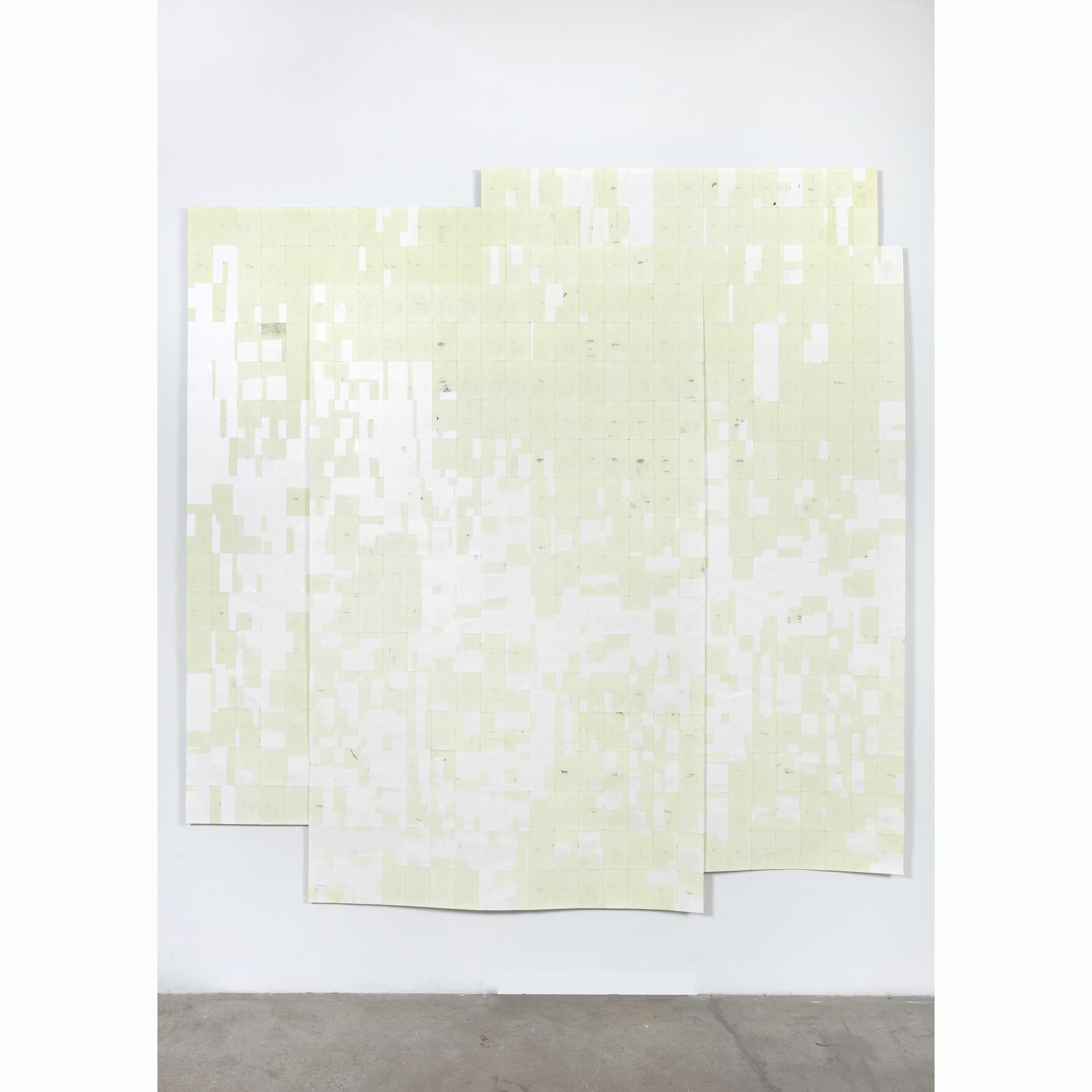 Agnes Lux, Hiver étéliés #1 ,2016,phosphorescent paint on postcards,104.72 x 101.4 in (light view)