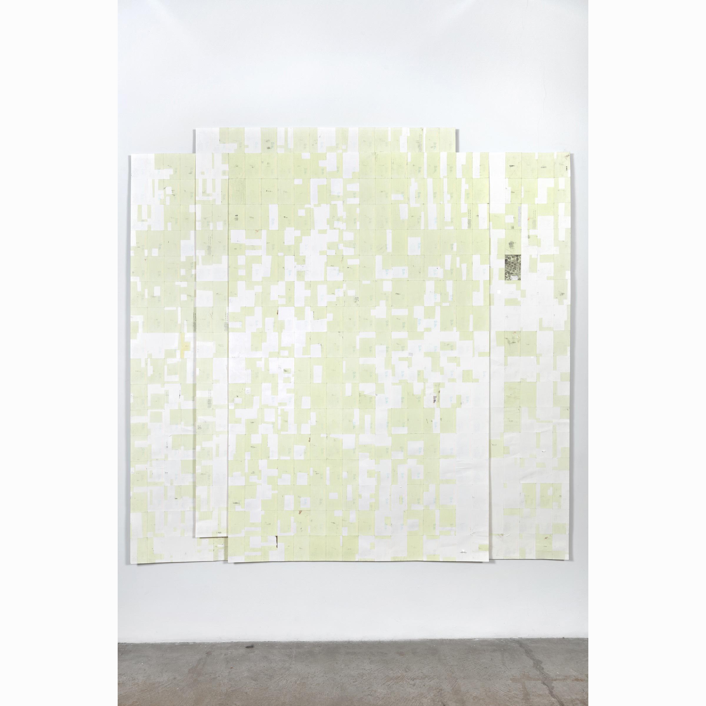 Agnes Lux, Hiver étéliés #2 ,2016,phosphorescent paint on postcards, 93.7 x 94.6 in (light view)