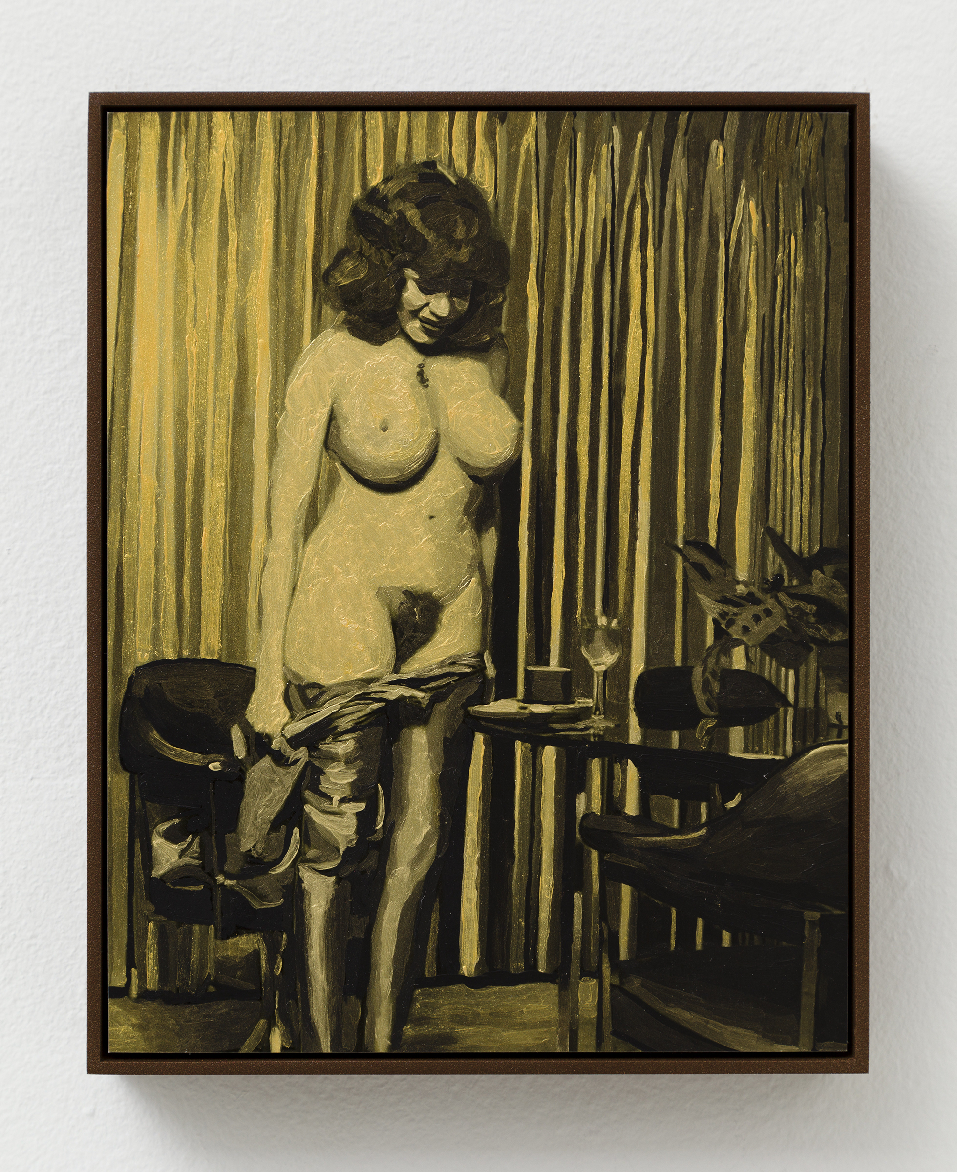 Aura Rosenberg,  Scene #10,  2014, acrylic paint, inkjet print on gold metallic photo paper mounted to dibond, 8⅞ x 6.938 in.